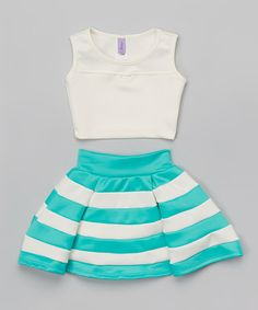 Love this White Crop Tank & Blue Stripe Skirt - Girls on #zulily! #zulilyfinds