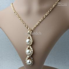 Wholesale Fashion Jewellry - Buy Fashion Golden Crystal Pearl Pendant Necklaces Faux Pearl 70CM Long Chain Necklace