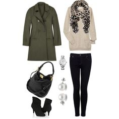 Love this whole outfit (Leopard Scarf FTW) except for the green coat since green makes me look pukey.