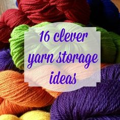 Are you drowning in yarn? If you are like most knitters and crocheters, I bet you are. Here are 16 clever yarn storage ideas to keep yarn neatly organized! Diy Yarn Organizer, Crochet Organizer, Yarn Organization, Diy Yarn Storage Ideas, Craft Room Storage, Craft Rooms, Horse Hair Braiding, Cheap Yarn, Yarn Stash