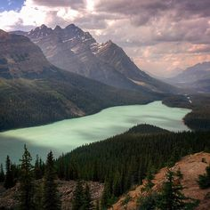 Peyto Lake Canada. #lakeview #landscape #dramaticclouds by patrick.singer