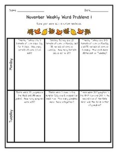 The Weekly Word problems allow students to practice their word problem skills each day.  The November version contains a mixture of addition, subtr...