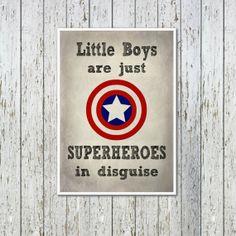 Superhero Kids Poster - Marvel Comics - Gift For Boys - Kids Art Print - Superhero Art Print - Bedroom Decor - Captain America - Superheroes on Etsy, $16.65