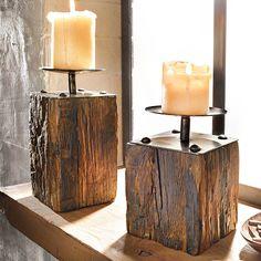 """2-tlg. Kerzenhalter- Set """"Wood"""" Kerzenständer Dekoständer Deko Pinienholz NEU in Möbel & Wohnen, Dekoration, Kerzenständer & Teelichthalter   eBay"""