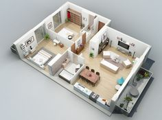 3D Small Home Floor Plans Two Bedroom and Porches