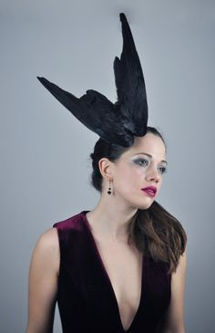 Feather Fascinator in Folded Crow Wings by MissFloraG on Etsy