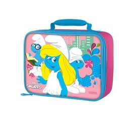 The Smurfs Insulated Zippered Rectanglar Shaped Lunch Bag By Thermos