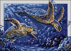 Cross stitch pattern Sea turtles by TatyanaStitch on Etsy Cross Stitch Tutorial, Cross Stitch Art, Cross Stitch Designs, Cross Stitching, Cross Stitch Patterns, Crochet Patterns, Bead Lizard, Turtle Crafts, Knitting Charts
