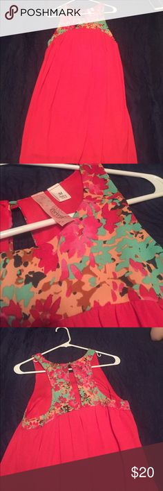 Francesca's dress Bright dark pink body with green, orange, and pink flowers with black accents. Keyhole in back. Never worn Francesca's Collections Dresses Mini