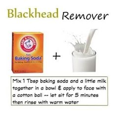 Blackhead Remover -- baking soda & milk Pinner said: I tried this the other night while I was having a bath. It really did remove all the blackheads! I left it on for a bit and scrubbed before rinsing it off. But be easy if you have sensitive skin. Beauty Care, Diy Beauty, Beauty Skin, Beauty Hacks, Fashion Beauty, Face Care, Skin Care, Make Up Remover, Blackhead Remover