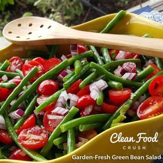 I made this Salad to go alongside baked Salmon tonight. This recipe is a Food Network recipe that receives 5 stars. I changed it up a bit to make it a little healthier, and it is AMAZING! Your famil Healthy Side Dishes, Healthy Eating Recipes, Clean Eating Recipes, Healthy Sides, Healthy Lunches, Eating Clean, Green Bean Salads, Green Beans, Fresh Basil Recipes