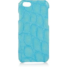 The Case Factory Croc-effect leather iPhone 6 case ($105) ❤ liked on Polyvore featuring accessories, tech accessories and blue
