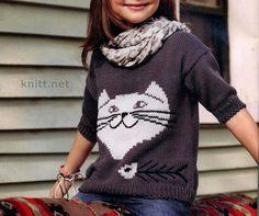 Детский свитер с котом