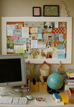 Beautiful and Unique: 40 Offices, Workspaces and Studies | The Inspiration Blog  I love the big white frame corkboard! Not sure if I would keep at as a corkboard or if I would do it as a chalkboard with magnets! Hmm! I could also pin photos up on there that make me happy! :D
