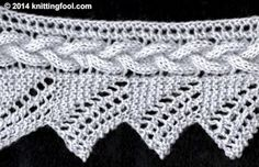 Cable And Lace Edging - Knittingfool Stitch Detail-free pattern! Thank you knitting fool