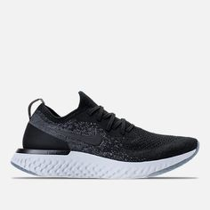 Right view of Men s Nike Epic React Flyknit Running Shoes in Black Dark  Grey  18fa112c5