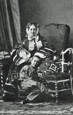 Grand Duchess Maria Nikolaevna of Russia (1819–1876) with her eldest son Nicholas. C 1850.