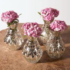 Silver Bernadette Mini Mercury Glass Vase Set | Luna Bazaar