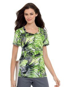 4044 - Banded Sweetheart Tunic Breezeway Palms print  #nurse #landau #uniforms #medical #scrubs #nursing #landauuniforms #prints #summer