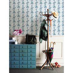 2657-22252 - Charlise Blue Floral Stripe Wallpaper - A - Street Prints