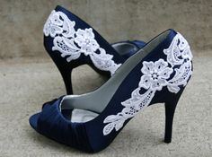 Navy Blue Heel With Venise Lace Applique Size 65 by walkinonair, $69.00