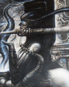 ALIENS Illustration Original Artwork not a print-H.R.Geiger style