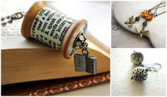 """http://www.etsy.com/shop/WoodenNickelsJewelry """"Here you'll find themed jewelry that tells a story. As a teacher I've heard oodles of descriptive tales from my students. Even though the authenticity of some were debatable I always appreciated the moxie my kids demonstrated by taking a crack at getting it past me. What tells your tale? """""""