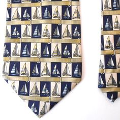 """Paolo Gucci Sailboat Tie Mens Classic Made in Italy Silk Necktie 60"""" x 4"""" #PaoloGucci #NeckTie"""