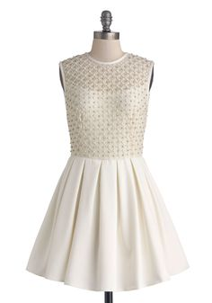 $113 Gem I Fall in Love Dress. Theres something about the sparkling silhouette of this white dress that makes everything seem more magical! #white #bride #prom #wedding #modcloth