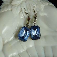 Large Vintage Art Deco Drop Earrings Blue Stones