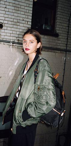Burberry model Iris Law on location in London for the Liquid Lip Velvet campaign shoot