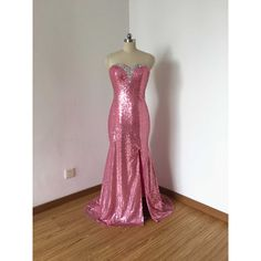 Mermaid Sweetheart Hot Pink Sequin Long Prom Dress 2017 With Slit ($119) ❤ liked on Polyvore featuring dresses, grey, women's clothing, long dresses, sweetheart prom dresses, long grey dress, long prom dresses and long cocktail dresses