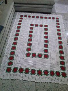 Crochet Flowers, Bohemian Rug, Blanket, Crochet Rugs, Home Decor, Farmhouse Rugs, Crochet Flower Patterns, Cortinas Crochet, Bathroom Sets