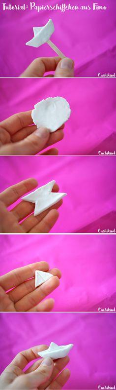 Anleitung zum Basteln eines Papierschiffchens aus Fimo