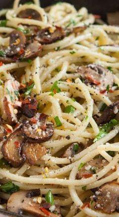 Mushroom and Garlic Spaghetti Dinner - use vegan butter and cheese
