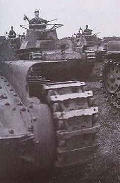 japanese army type 97 chi-ha tanks during military exercices (japan 1940)