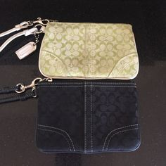 COACH WRISTLETS TWO CITRON AND BLACK COACH WRISTLETS. TWO BLACK AND CITRON. PRE-OWNED IN GOOD CONDITION. THE CITRON GREEN IS SHOWING SOME  WEAR ON THE WHITE LEATHER ACCENTS Coach Bags Clutches & Wristlets