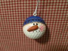 OOAK Upcycled Snowman Golfball Ornament by Suzyscreations2 on Etsy
