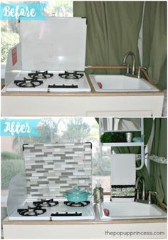 Easy Pop Up Camper Tile Backsplash - The Pop Up Princess - - Adding a tile backsplash to your camper is a simple and inexpensive way to completely transform your RV's kitchen area. Jayco Pop Up Campers, Aliner Campers, Best Pop Up Campers, Cool Campers, Rv Campers, Camper Life, Camper Hacks, Camper Ideas, Diy Camper