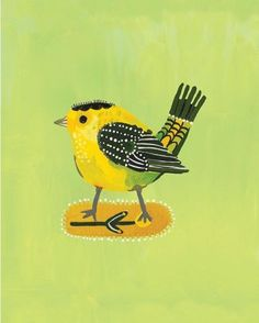 SAVE 10%OFF when you spend $40 Plus free ipad case  PRINTS :: Green Bird print - Ecojot - eco savvy paper products