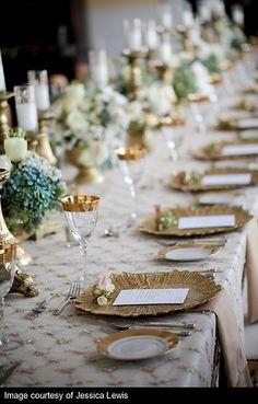 tablescape gold white aqua