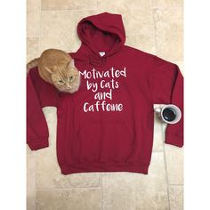 Cat Sweatshirt Cat Lover Gift College Gift Funny Sweatshirt Unisex... ($30) ❤ liked on Polyvore featuring tops, hoodies, red, sweatshirts, women's clothing, cat shirts, plus size shirts, red hoodies, hooded sweatshirt and pullover hoodie