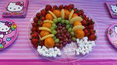 Rainbow fruit tray hello kitty party