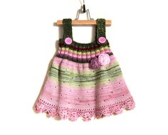 Knitted Girl Dress  Pink and Green 1  2 years by SasasHandcrafts