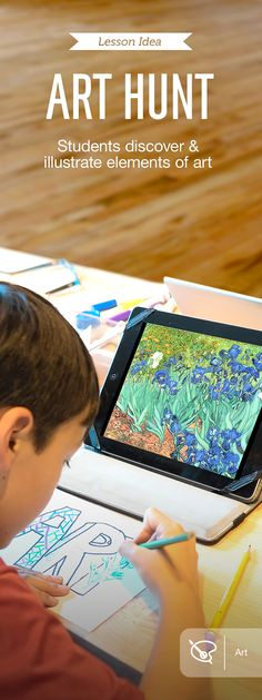 "In the Art Hunt lesson, which uses the Art Authority app, students ages 5 to 10 learn the elements of art, demonstrating their understanding through drawing. They start with a scavenger hunt through 1000+ major artists, looking for paintings that showcase line, color, shape, value, texture, and space within a virtual museum of classic art. Once identified, they illustrate key elements in a drawing of the word ""art."" For more lesson ideas, download this free book: http://apple.co/ArtAuthority"