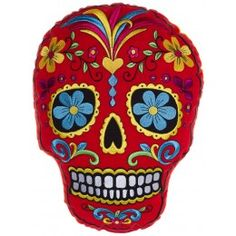 SUGAR SKULL EMBROIDERED PILLOW RED