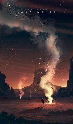 Lava Miner by Andi Koroveshi Concept Art Fantasy Concept Art, Fantasy Art, Fantasy Landscape, Landscape Art, Bg Design, Wow Art, Environment Design, Environmental Art, Grafik Design