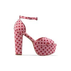 Jeffrey Campbell - El Carmen (85 CAD) ❤ liked on Polyvore featuring shoes, pumps, heels, sapato, pink red dot, red platform pumps, red high heel pumps, high heeled footwear, sexy red pumps and pink pumps