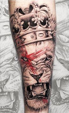 Lion Tattoo On Thigh, Lion Head Tattoos, Bull Tattoos, Mens Lion Tattoo, Line Art Tattoos, Calf Tattoo, Top Tattoos, Sleeve Tattoos, Tatoos