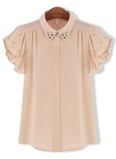 Pink Batwing Short Sleeve Rhinestone Chiffon Blouse pictures